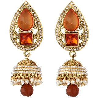 Jewels Gold Alloy Amazing Gold Party Wear Jhumka Jhumki Earring Set For Women  Girls