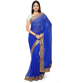 Meia Blue Chiffon Embroidered Saree With Blouse