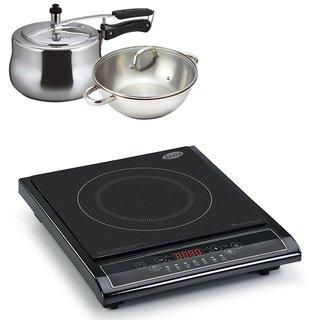 3071 Glen Induction Cooker + Alda IB SS Wok Pan 28+Lid + Alda Aluminum Pressure Cooker 3.0Ltr ( COMBOS )