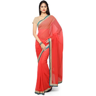 Aaina Pink Chiffon Embroidered Saree With Blouse