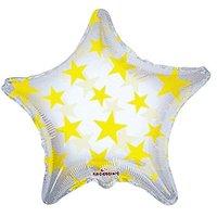 Kaleidoscope Yellow Star Foil Mylar Balloon, 5 Piece