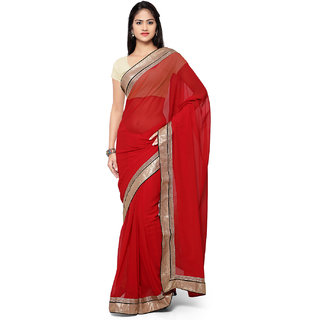 Aaina Red Chiffon Embroidered Saree With Blouse