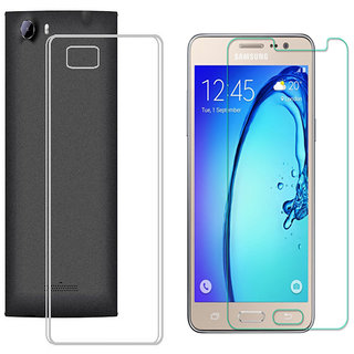 Soft Transparent Back Cover with 25HD Tempered Glass for Samsung Galaxy J7