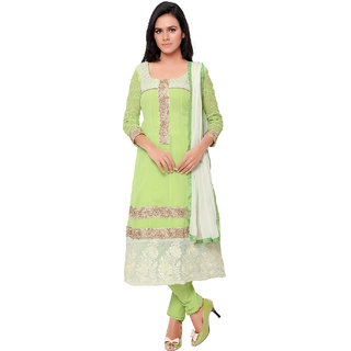 Aaina Green Georgette Embroidered Dress Material (SB-3158-JAN) (Unstitched)