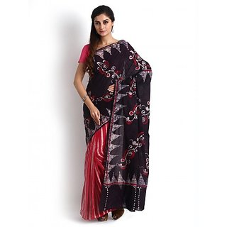 Red and Black Cotton Batik Saree