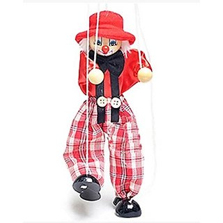 Very Popular Toys for Children Very Cute Clown Doll Colorful Wooden  Marionette Toys-red