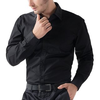 100 Cotton Regular Fit Casual Black Shirt