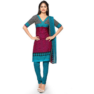 Aaina Sky Blue  Red American Crepe Printed (SB-3271-JAN) (Unstitched)