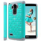 LG G Stylo Case, LG G4 Stylus / LG LS770 Case, Style4U Studded Rhinestone Crystal Bling Hybrid Armor Case Cover for LG G Stylo / LG G4 Stylus LS770 with 1 Style4U Stylus [Mint Green / Grey]