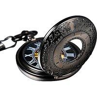 Mudder Steampunk Pocket Watch Mechanical Movement with Chain Belt