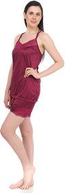 Fasense Exclsuive Summer Sleepwear Satin Barmuda nightwear Top  Shorts (DP041 C)