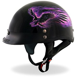 Hot Leathers DOT Approved Purple Blackout Eagle Helmet (Black  X-Small)