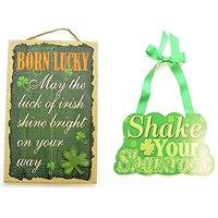 Maven Gifts: St. Patty's Bundle - Born Lucky Wall Dcor and 1 Shake Your Shamrock Wall Dcor