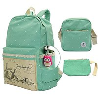 College Computer Bag Student School Backpack Laptop Bag 3-in-1 Lightweight Travel Shoulder Bag Cute Lace Canvas Rucksack for Teen Girls Water Blue