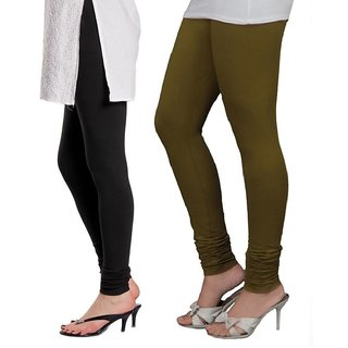 Stylobby Black and Olive Green Viscose pack of 2 Leggings