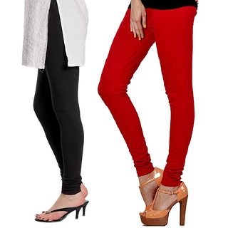 3d76c02b6349e7 Buy Stylobby Black and Red Viscose pack of 2 Leggings Online @ ₹555 from  ShopClues