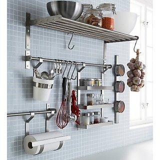 ikea stainless steel kitchen organizer set inch rail 5 hooks silver