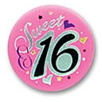 "Sweet Sixteen Satin Button 2"" Party Accessory"