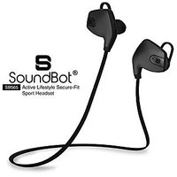 SoundBot SB565 Stereo Bluetooth 4.0 Sports-Active Wireless Headset Water-Resistant Earbud High-Performance Earphone Secure-Fit Headphone for Hands-Free Talking, Music Streaming, 33FT Wireless Range