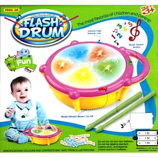 MULTI COLOURED FLASH DRUM WITH TWO DRUM STICKS ,BATTERY OPERATED TOY  4R UR KID