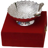 Anand Kala Mandir Festival Gift Silver Plated Elephant Carving Brass Bowl