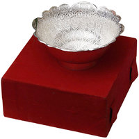 Silver Plated Floral Shaped Brass Dry Fruit Bowl