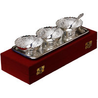 Wedding Gift SilverPlated Brass Bowls With Tray Set Of 7 Pcs