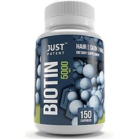 Biotin Supplement By Just Potent :: 5,000 MCG :: Hair :