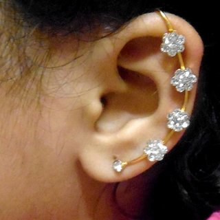 White stone golden kaan earrings
