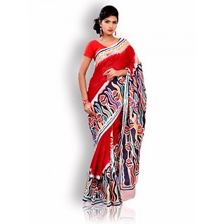 Red Cotton Saree with Batik Work
