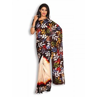 Black  Off-White Silk Saree with Batik Work