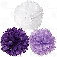 8 Inch Tissue Paper Flower Pom Poms, Pack Of 12, Purple