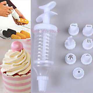 Cake icing and decoration set with 6 attachments