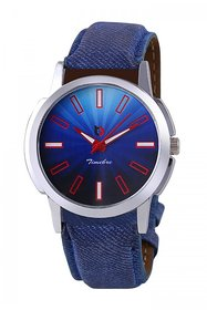 Timebre Round Dial Blue Leather Strap Quartz Watch For