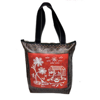 NoVowels Polyster Shopping Bag For Women In Warli Painting Red And Black