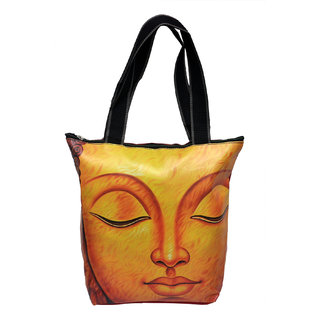 NoVowels Polyster Shopping Bag For Women Gautam Buddha Meditation In Yellow