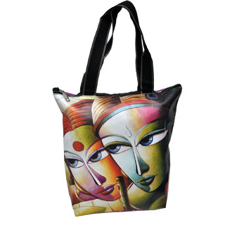 NoVowels Polyster Shopping Bag For Women In RadhaKrishna Print