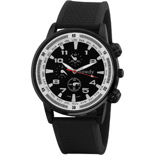 howdy Smart Analog Black Dial Watch With Black PU Strap