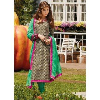 IndiWeaves Chiffon Embroidered chiku & blue Semi Stitched Salwar Suit.2217-IW