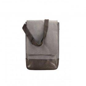 Deeya Black And Gray Genuine Leather Unisex Messenger Bag
