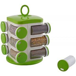 Floraware 12-Jar Revolving Spice Masala Rack, Green