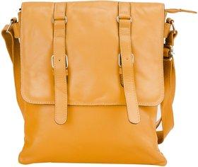 Deeya Yellow Genuine Leather Unisex Messenger bag