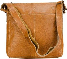 Deeya Tan Genuine Leather Messenger Bag