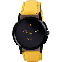 Timebre Round Dial Yellow Leather Strap Quartz Watch Fo