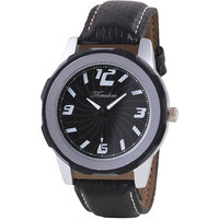 Timebre Round Dial Black Leather Strap Quartz Watch For