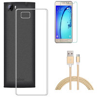 Soft Transparent Back Cover with HD Tempered Glass and Golden Nylon USB Cable for RelianceJio LYF Flame 5