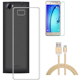 Soft Transparent Back Cover with HD Tempered Glass and Golden Nylon USB Cable for RelianceJio LYF Flame 3