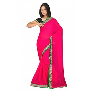 sehgal sons Black & Pink Georgette Embroidered Saree With Blouse