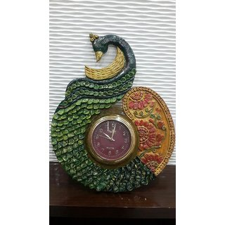Guchi's Handmade Peacock Shaped Wall Clock