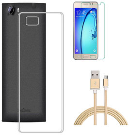Soft Transparent Back Cover with HD Tempered Glass and Golden Nylon USB Cable for Samsung Galaxy S6 Edge Plus